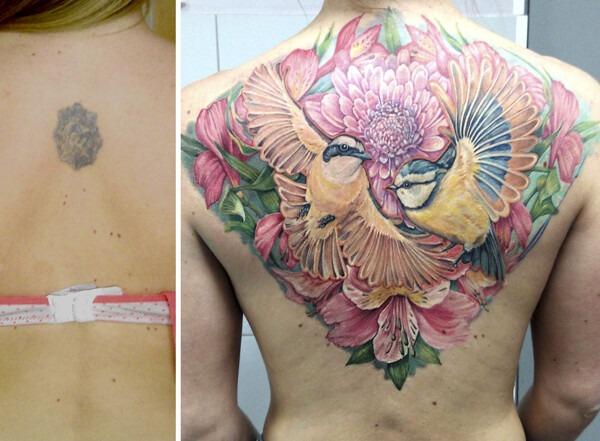 исправление тату для девушки на спине