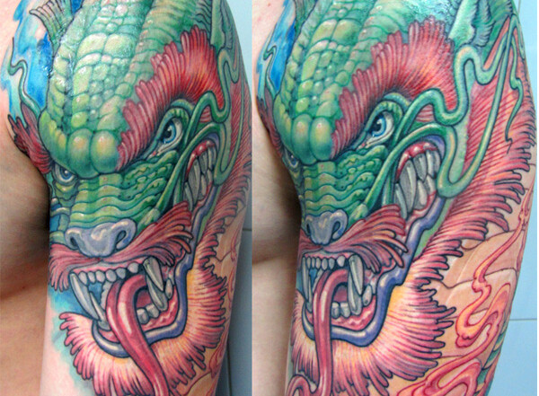 татуировка дракона на плече