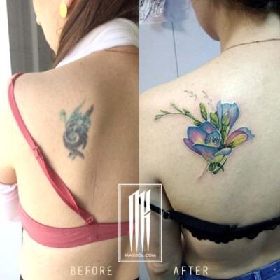 исправление плохой татуировки. перекрытие татуировки,исправление тату
