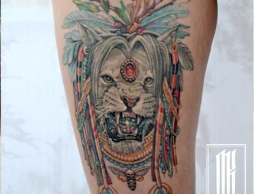 Тату лев для девушки